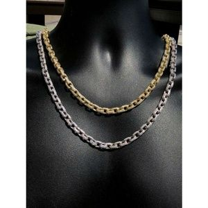 Men's Rolo Link Chain ICY Diamonds Solid 925